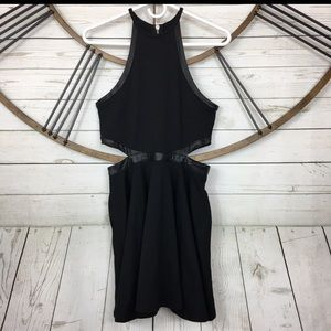 Nasty Gal Black Dress Faux Leather Accent Size M